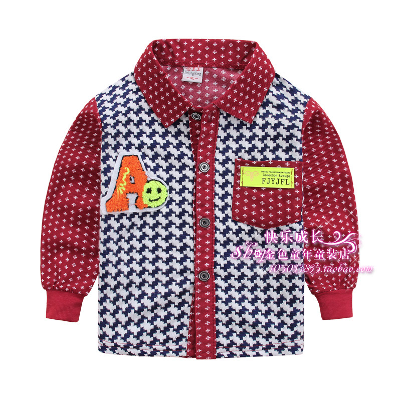 Child spring long-sleeve plaid shirt children children's and infants clothing 2015 spring and autumn male child shirt