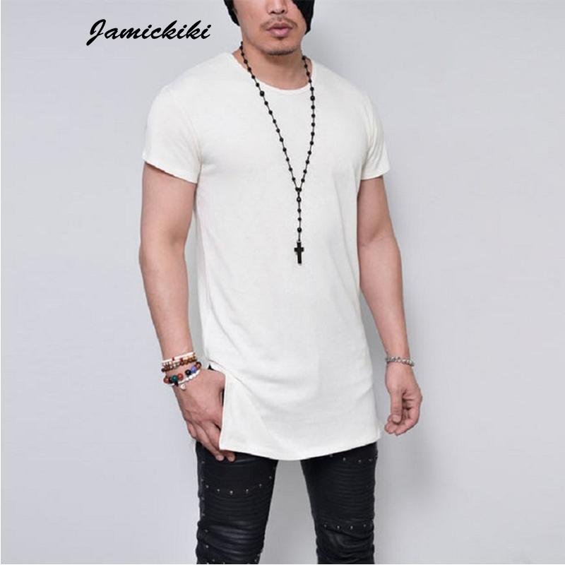 6d982eff9e7 2016 Summer Men s Short Sleeve Long Style Solid Black White Gray Plain T  shirt High Quality T shirts Men HipHop Tee Tops KF-2147