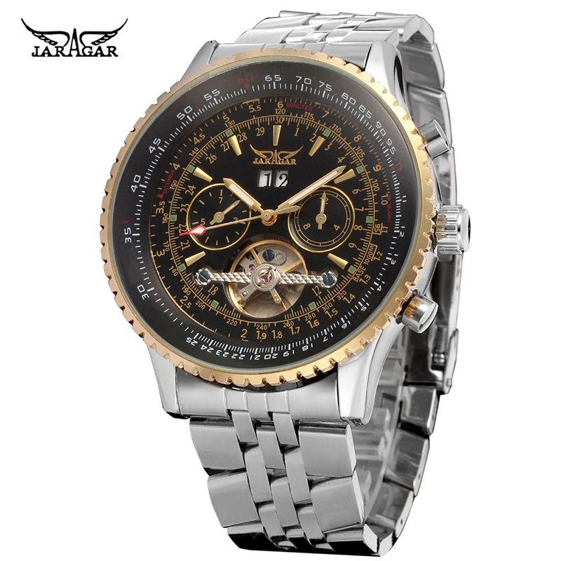 Brand Mechanical Wrist Watches Men <strong>Date</strong> Week 6 Hands Tourbillon Skeleton Design Stainless Steel Luxury Automatic Jaragar Watch