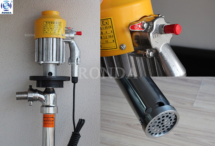 HD Polypropylene Centrifugal Chemical Drum Pump Electric Barrel Pump For Diluted Hydrochloric Acid