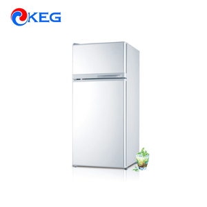 95L White Mini Top Freezer Glass Door Refrigerator With Lock And Key