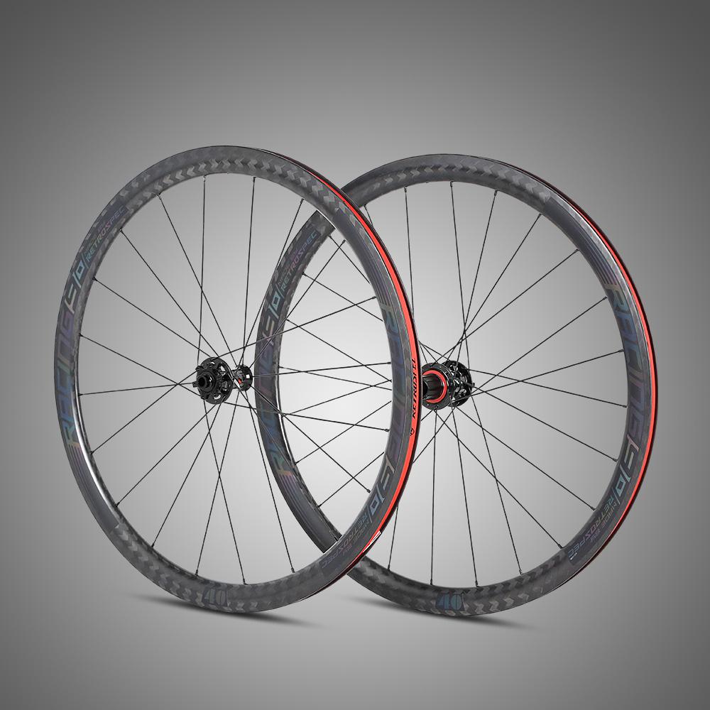 OEM bike parts factory 700C wheelsets Thru-axle 5mm-axle disc brake carbon road bike wheels, Black