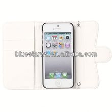 Factory Supply Popular pu leather case for iphone5 flip leather case with holder