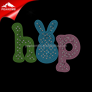 Rhinestones Happy Easter Crystal Hot-fix Stone Hip Hop Heat Transfers For T-shirt
