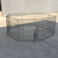 Black Tall Dog Playpen Crate Fence Pet Kennel Play Pen Exercise Cage -8 Panel