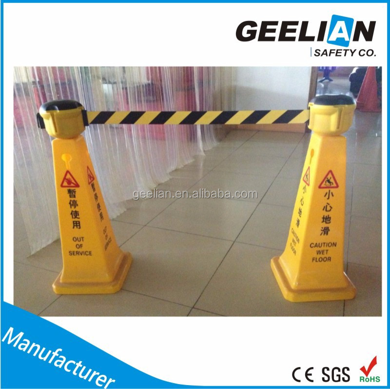 Queue Up Stand Way Economic Safety Barrier Black Stanchion Post with Retracting Belt