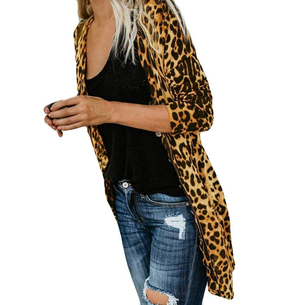 919a785eca6 Get Quotations · iTLOTL Womens Long Sleeve Leopard Print Fashion Coat  Bllouse T-Shirt Tank Tops