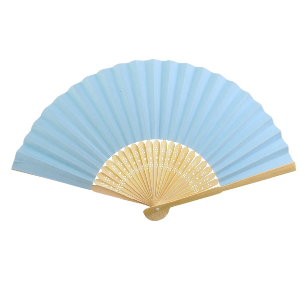 Wedding DIY Craft Fancy Dance Party Paper Hand Fan Folding Fan Cosplay Costome Accs Blue