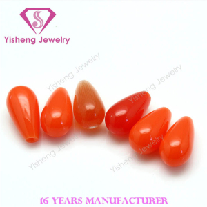 Wholesale Alibaba Top Drilling Drop Shape Red Coral Glass Gemstone