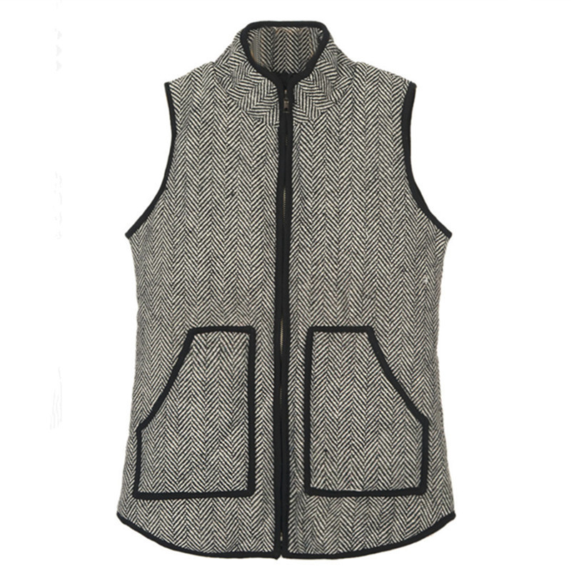 2015 Womens Fall Fashion Winter Casual Cotton Quilted Herringbone Vest Sleeveless Women Coats and Jackets Fringe Vests