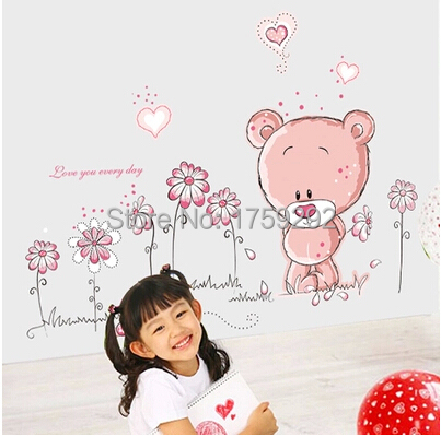Free shipping Cartoon Lovely Pink Bear Flowers Wall Stickers PVC Decor Removable DIY Home Art Wallpaper Room Decoration