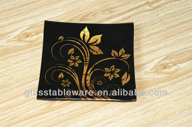 Black and Gold Line Tempered Glass Plate