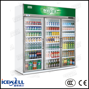 1600L transparent glass 3 door commercial refrigerator