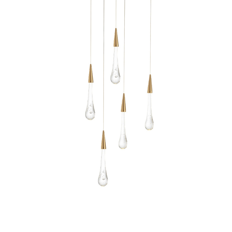 Moderne luxe crystal water drop Multi-Head Kroonluchter lamp kan worden Custom specificatie