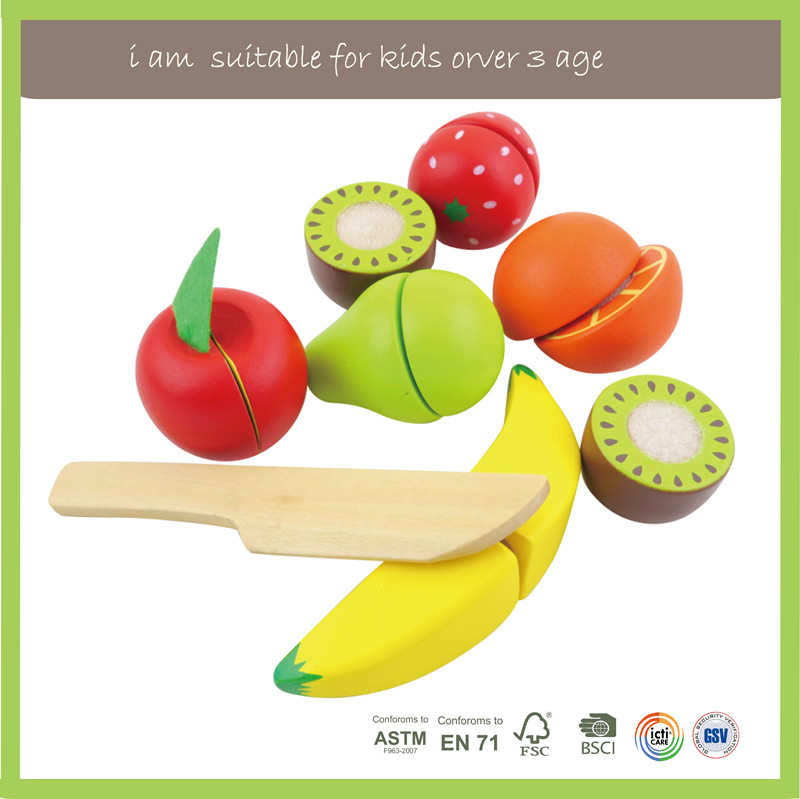Play Easy Eco-Friendly Fruit Cutting Toy Role Play Wooden Food Toy