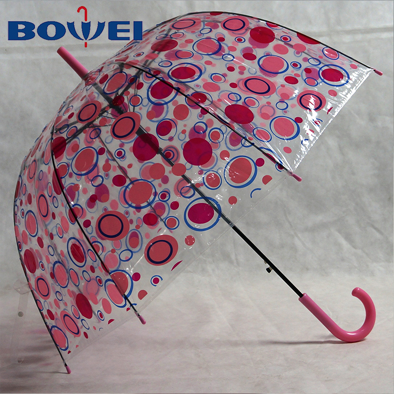 custom design rainproof cute dot transparent automatic clear birdcage dome umbrella for lady
