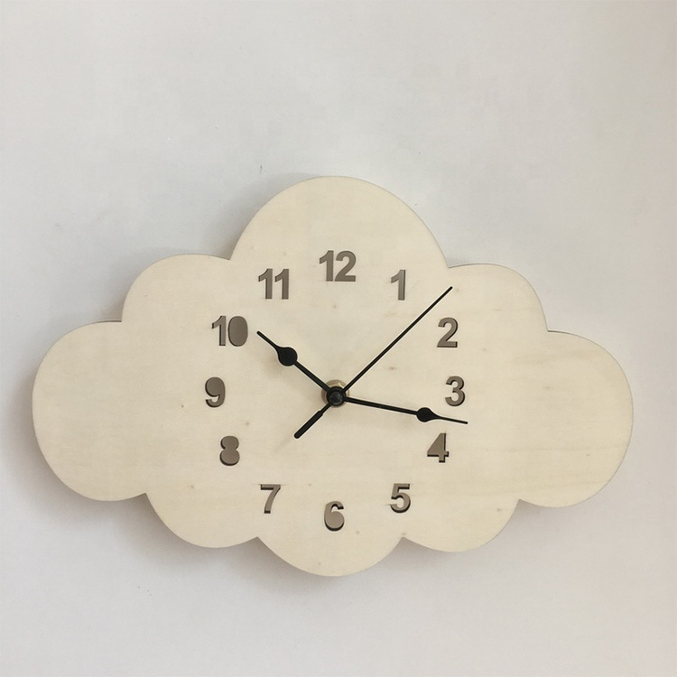 Nordic style home decor <strong>wood</strong> mute hanging lovely cloud shape wall clock