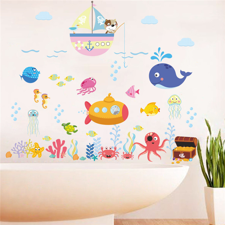 Underwater world fish wall sticker bedroom children's room living room DIY Removable PVC Wall decal