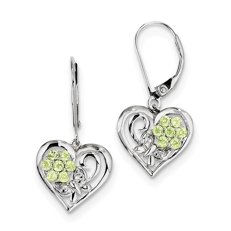 .925 Sterling Silver Rhodium-plated Peridot & Diamond Dangle Earrings