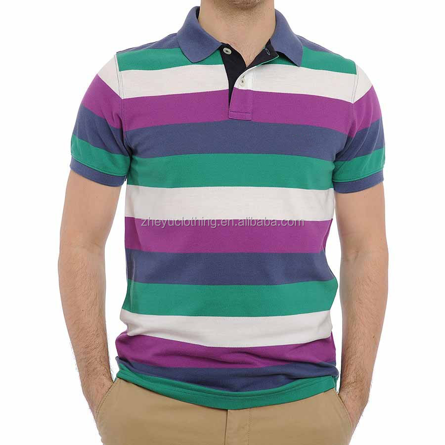 Fashional custom blank men camisas polo men with stripe
