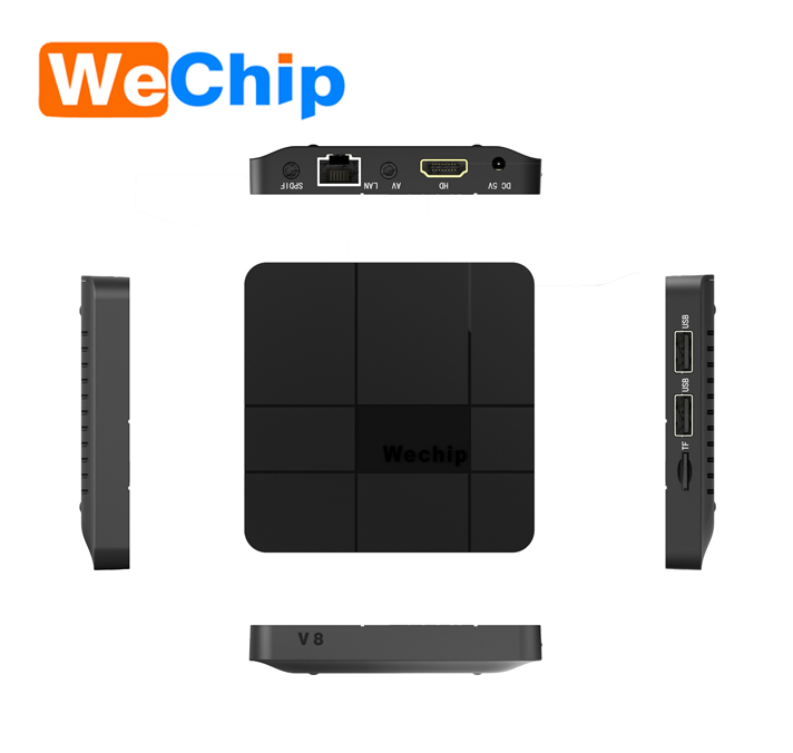 Cheapest wechip v8 Amlogic s905w android7.1 smart tv box wifi supporto 4 K browser internet completo lettore multimediale di supporto OEM