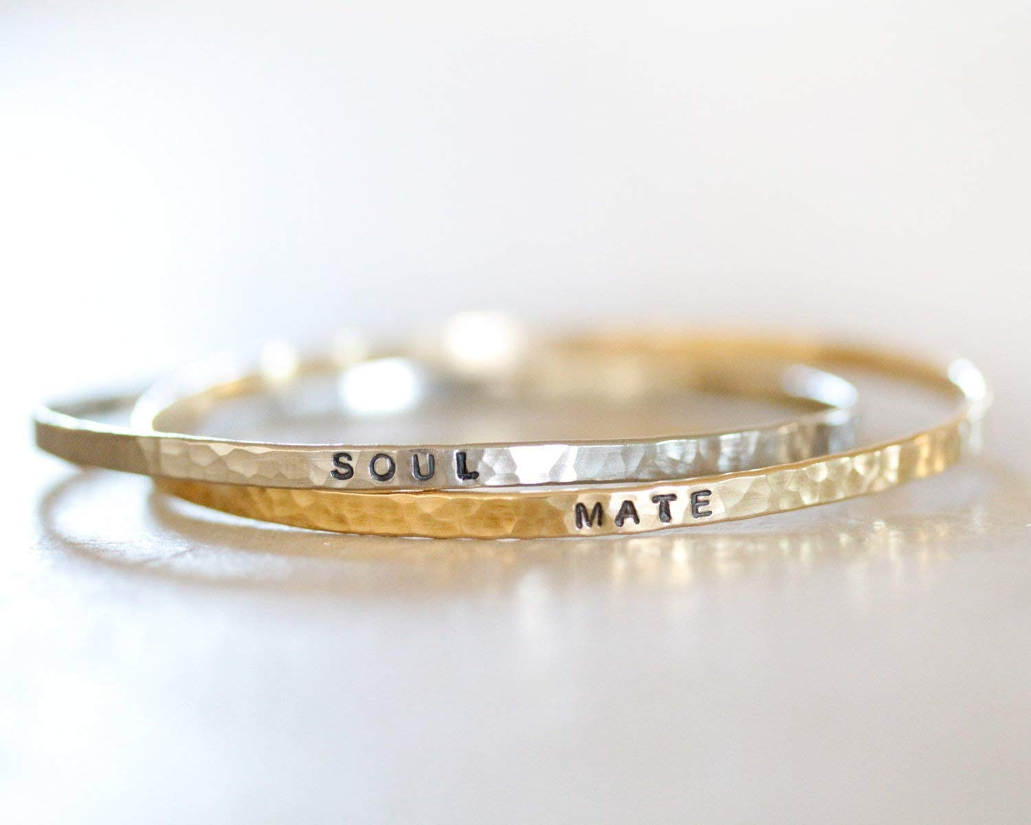 Two Silver and Nu Gold Interlocking Bangles / Soul Mate / Soul Sisters / Personalized Bangles / Bangle Bracelets / Gift / Personalized