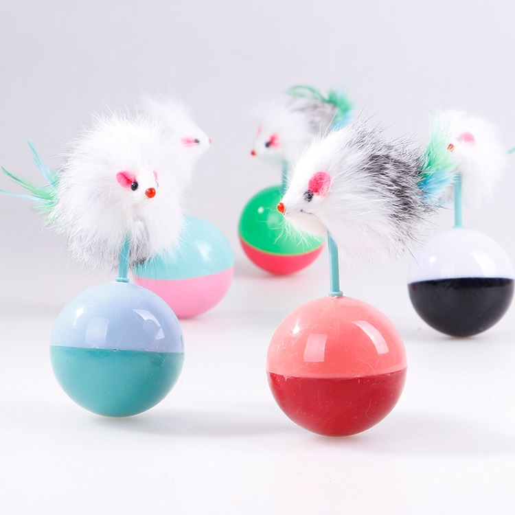 amazon Hot sale Interactive Cat Toy with Feather Mouse feather mouse ball for cat
