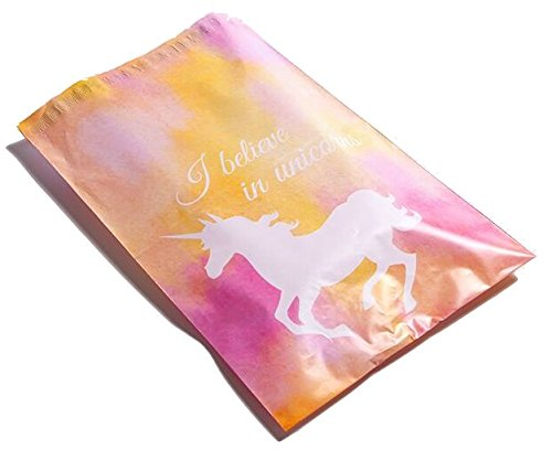 Poly Mailers Unicorn Desigenr Mailers Custom Boutique Shipping Bags Pink, Yellow, Blue Green #SmileMail (100 10x13 Pink)