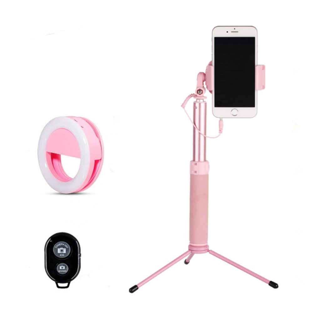Selfie Stick Tripod 1.22 M with Ring Light Remote Bluetooth for Live Stream and Makeup-iPhone X/SE/6/6s/6 Plus/7/7 Plus/8/8 Plus/,Samsung 8/S8/S8 Plus,Nexus,LG,Moto and More(Pink)