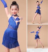 Professional Girls dance costume Children Latin Costumes Fringe Ballroom Salsa Tango Dance Performance Wear