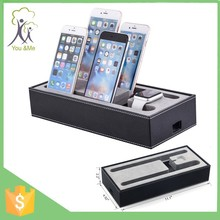 leather multi cell phone charging stand for apple watch for iphone for ipad