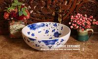 Oriental Hand Painted Ceramic Bathroom Vessel Sinks For Hotel