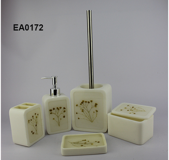 Cream Bathroom Accessories Set. EA0172 bathroom accessories sets soap and hand cream dispensers  dish also toiletbrush holder