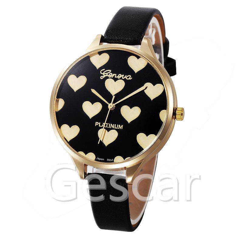 8233 peach heart mini strap elegance  geneva casual watch for women