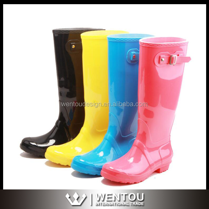 Women Flat Heels Tall Waterproof Rain Boots