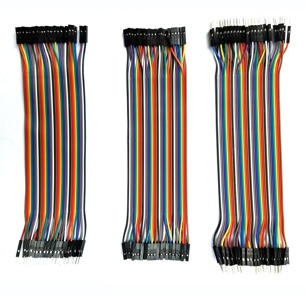 Breadboard Wires Jumper Wires dupont cable 120pcs Multicolored 20cm 40 pin Male to Female,Male to Male,Female to Female Breadboard Jumper Wires Ribbon Cables Kit Raspberry Pi 2 3