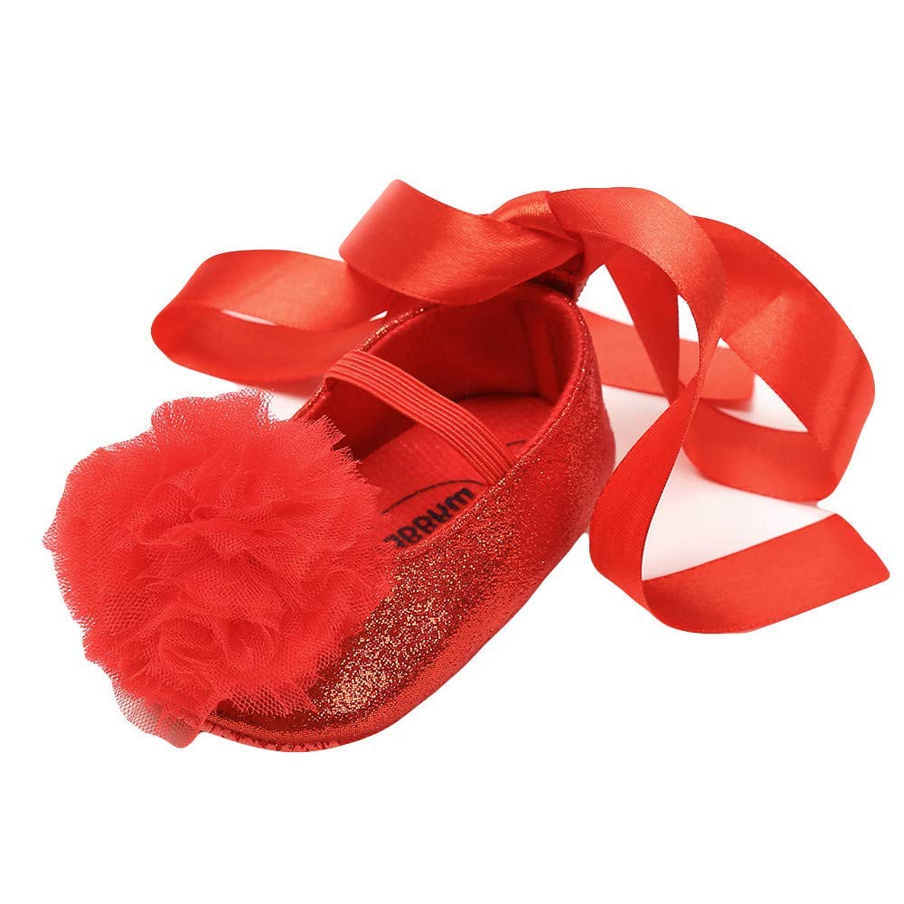Baby Girls Lace Flowers Bow Mary Jane Princess Shoes No-Slip First Walkers Dance Ballerina Sneakers
