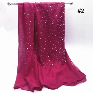 wholesale stylish muslim hijab scarf with pearls stones cotton fabric hijabs