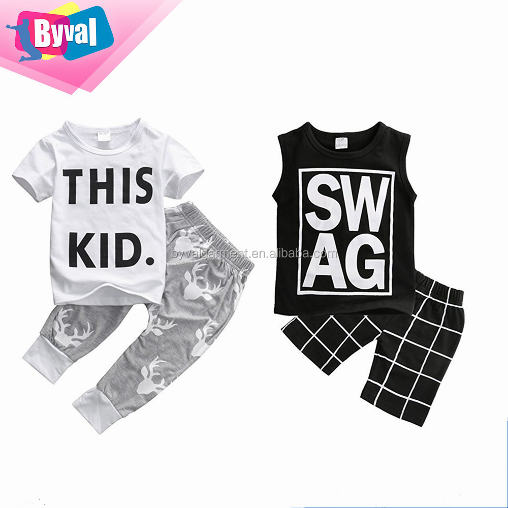 Unisex children s cotton t shirt Custom Baby Clothes T-shirt Tops and Pants Kids clothing Wholesale