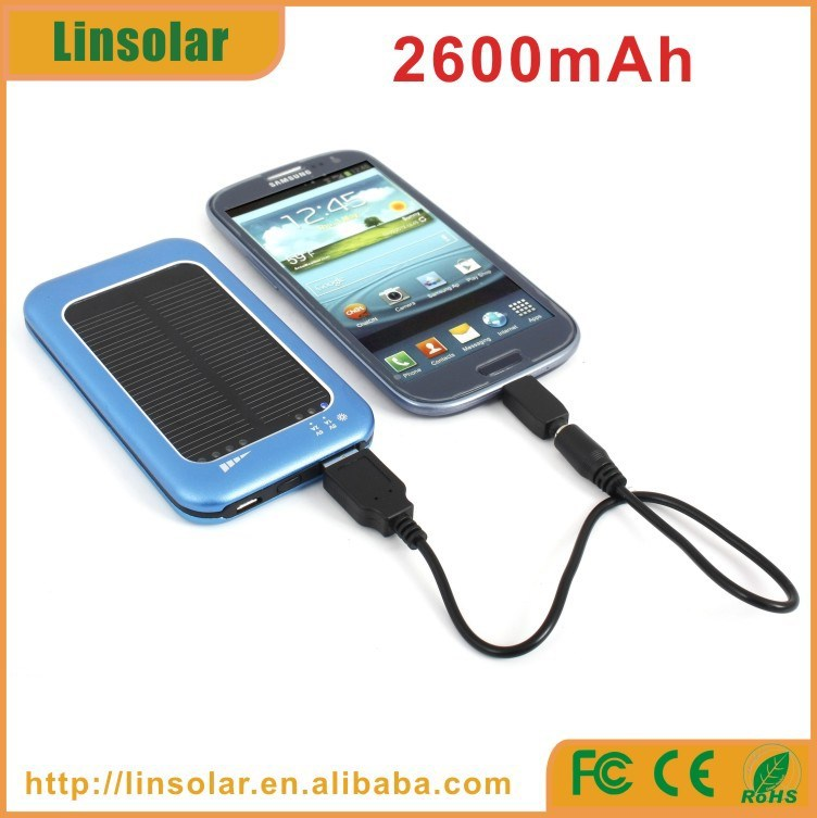 best quality metal 2600mAh solar power cellphone charger 5v 2a