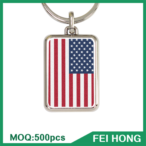Custom Logo Metal Keychain Maker USA Flag Souvenir Key Chain
