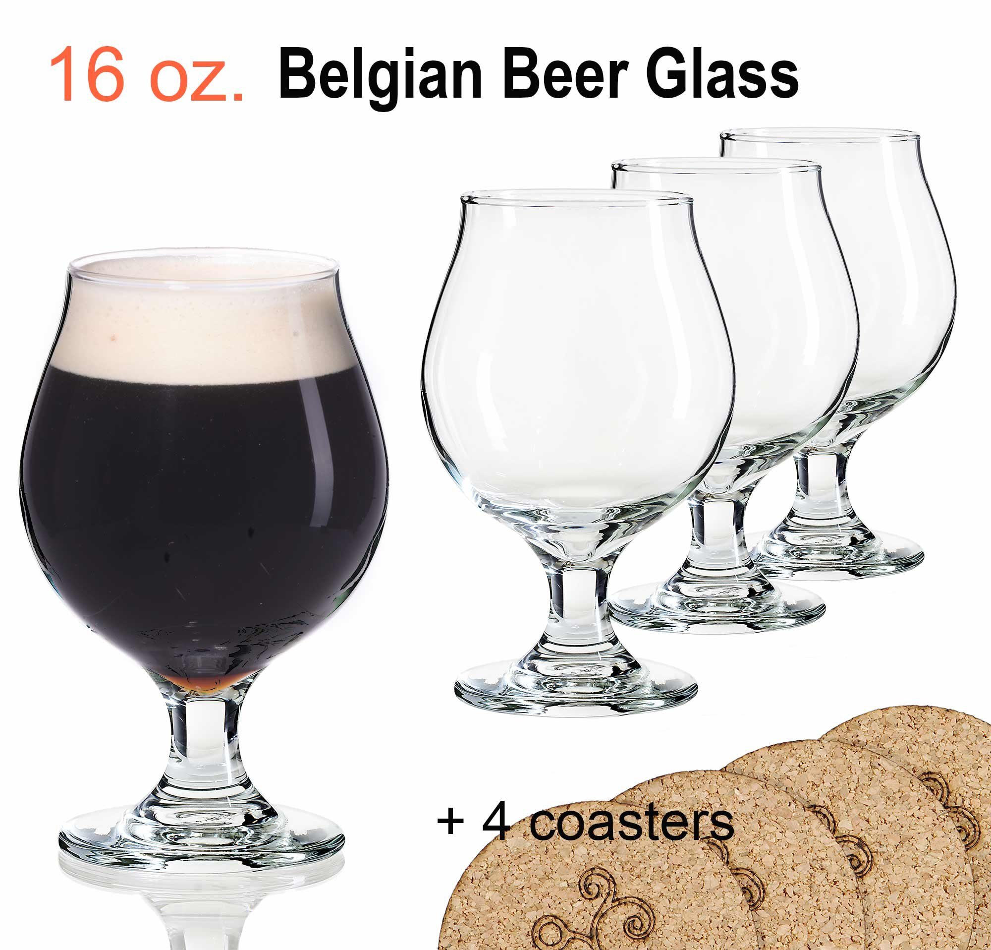 dc6993fec62 Get Quotations · Libbey Beer Glass Belgian Style Stemmed Tulip - 16 oz  Lambic Beer Glasses - set of