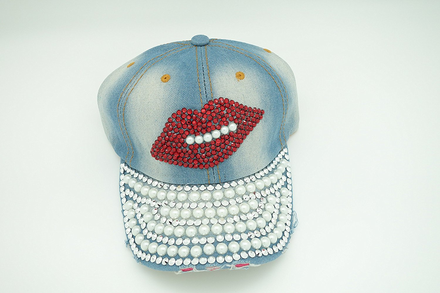 Lady Cap with Denim Jean material with Bling, Pearls, Ajustable