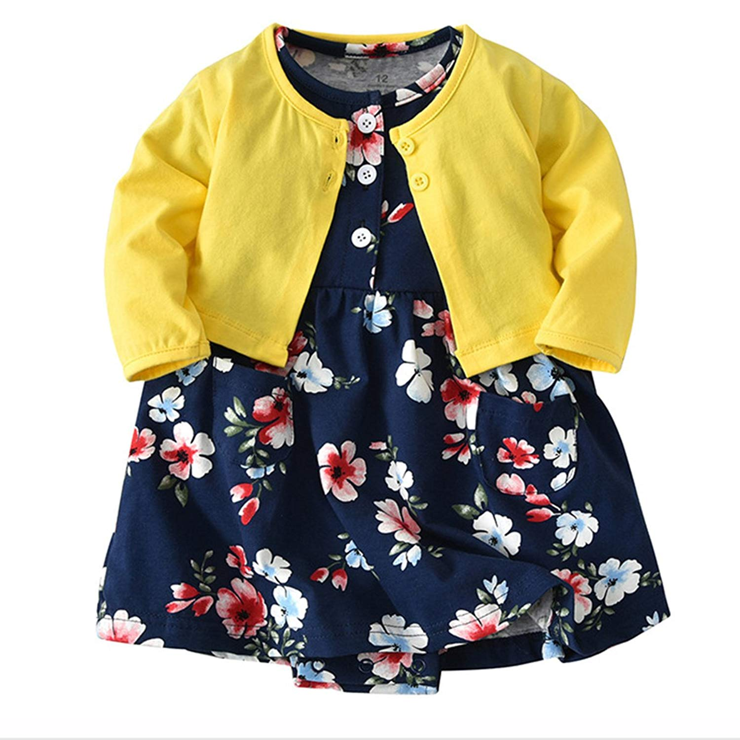 c1ea17cae9e4 Get Quotations · JIANLANPTT Cute 2pcs Baby Girls Dress Set Floral Toddler  Romper Dresses + Coat