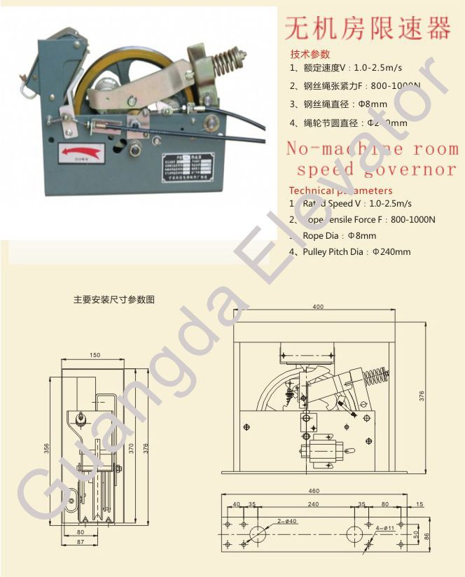 elevator no-machine room speed limiter /overspeed governor/speed governor for elevator