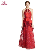 New trendy women's elegant floral embroidery halter lace evening dress