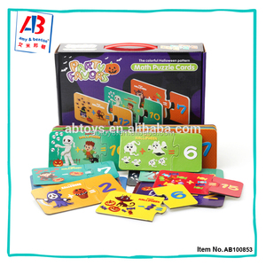 Popular halloween pattern math cards 30 selfs-correcting paper puzzle set for children
