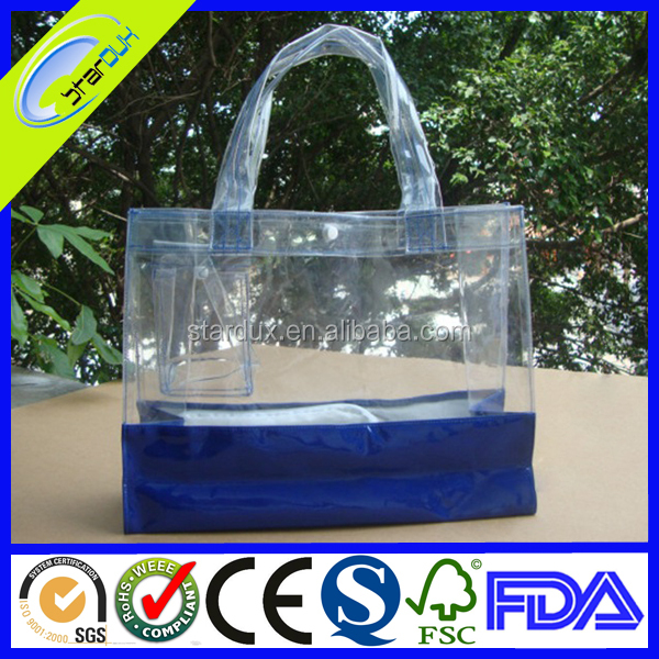 Transparent shopper tote bag clear PVC tote bag in fashion design
