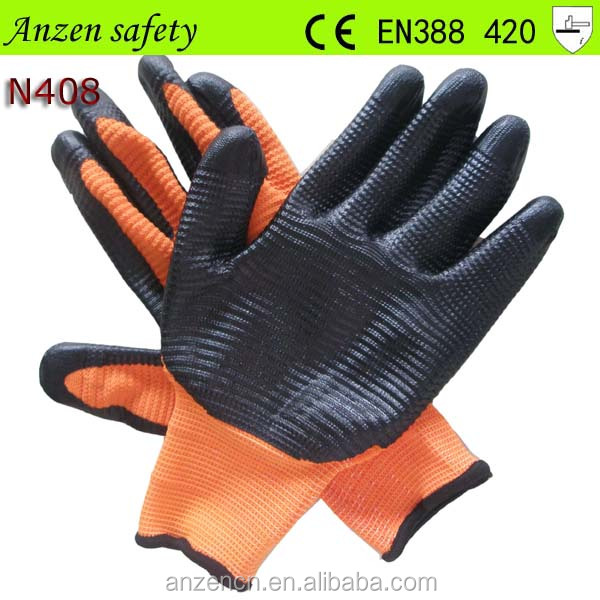 black nitrile coated heavy duty work glove