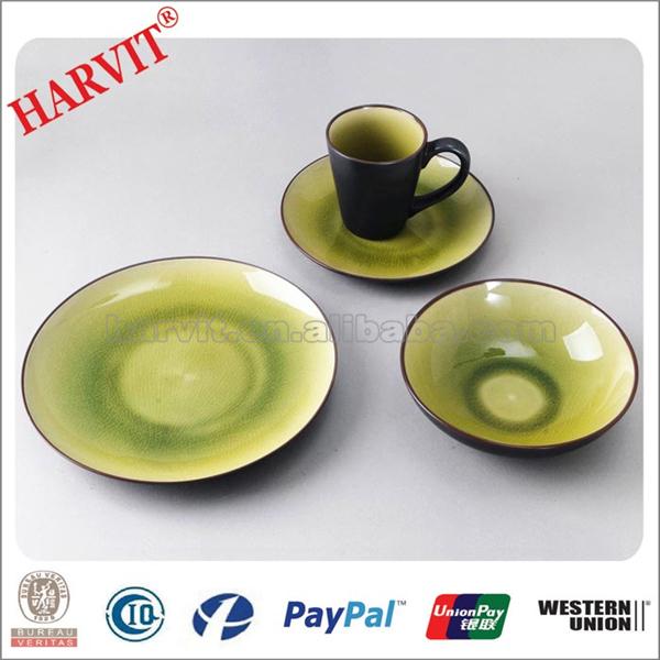 truquoise vert roscher bleu crackle verre vaisselle 16 pc. Black Bedroom Furniture Sets. Home Design Ideas